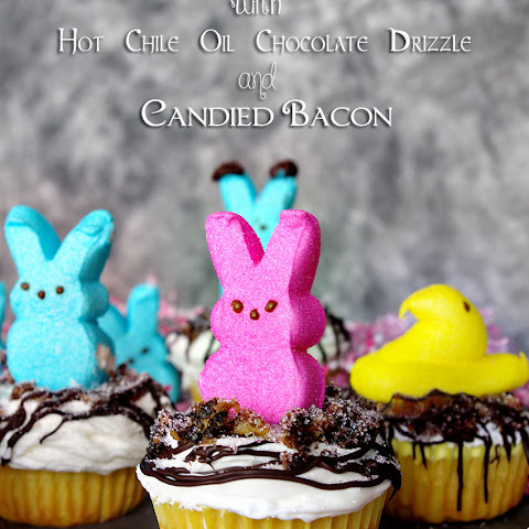 Marshmallow Cupcakes with Hot Chili Oil Chocolate Drizzle and Candied Bacon