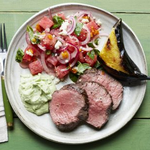Beef Tenderloin with Basil Crema with Watermelon-Basil Salad and Grilled Plantains