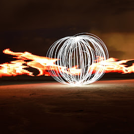 Fire Orb by Givanni Mikel - Abstract Light Painting ( desert, light painting, orb, salt lake, pixel stick, fire )
