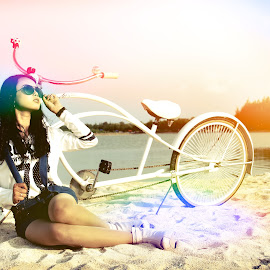 Lomo Light by Ahmad Bayyudh Attamimi - Novices Only Objects & Still Life ( sand, cycle, lomo, lake, beach, bicycle )