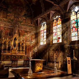 Basilica of the Holy Blood by Louis Otto - Buildings & Architecture Places of Worship ( fancy, altar, catholic, gothic, warm, church, holy, light, basilica, stained glass )