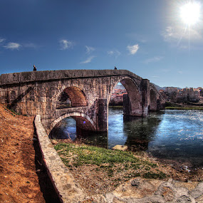 old bridge by Branislav Rupar - City,  Street & Park  Historic Districts ( crossing, herzegovina, trebinje, rock, bridge, river )