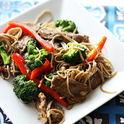 Beef and Broccoli Orange Stir-Fry Over Soba Noodle