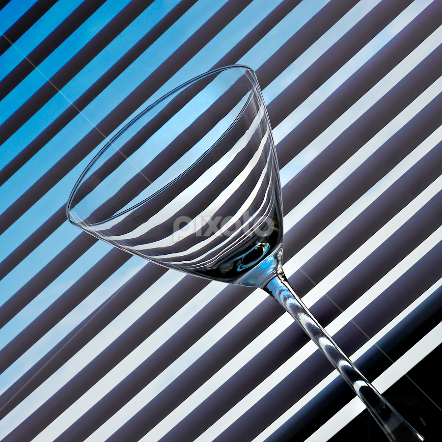 stiped martini by Marianna Armata - Artistic Objects Other Objects ( parallel, blue, martini, glass, white, diagonal, striped, lines, square, marianna armata )