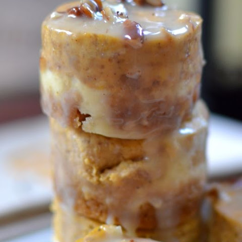 Mini Pumpkin Cheesecakes with white chocolate Pecan Sauce