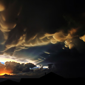 Stormy Sunset by Bryan Rasmussen - Landscapes Weather ( clouds, sunset, dark, storm, light, golden, sun )