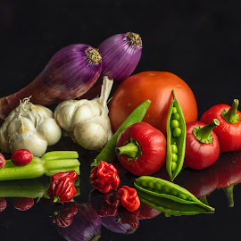 Veggie Group  by Jim Downey - Food & Drink Ingredients ( peppers, onions, tomato, garlic, celery, peas )