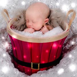 Santa Baby by Vix Paine - Babies & Children Child Portraits ( colour, santa, christmas backdrop, christmas, christmas card, rustic christmas, baby, rustic, newborn, Christmas, card, Santa, Santa Claus, holiday, holidays, season, Advent )