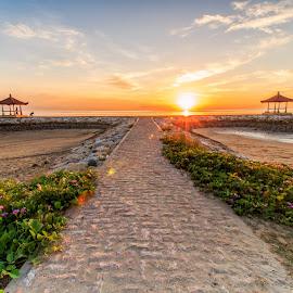 Karang Beach by Ivan Theo Saputra - Landscapes Sunsets & Sunrises ( sand, sunrise, flare, natural, gazebo, sun )
