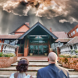 Watching each other kiss  by Tony Munro - Wedding Bride & Groom ( #bartongrangehotel, #wedding, #brideandgroom, #photoshopcs6, #composite )