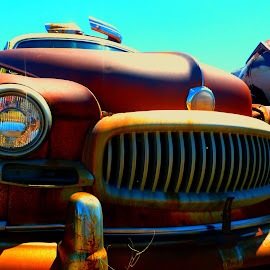 Ran When Parked by Jennifer Ablicki - Transportation Automobiles ( car, classic cars, grill, headlight, junkyard )