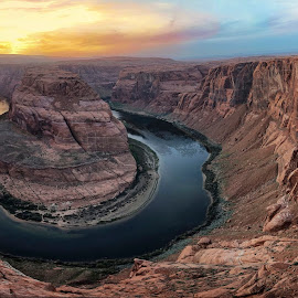 Horseshoe Bend Impression II by Michael Otter - Landscapes Sunsets & Sunrises