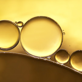 Golden by Lynne McClure - Abstract Macro ( water, circles, macro photography, golden, oil )
