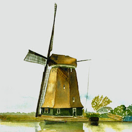 Windmill in Holland by Bob Has - Painting All Painting ( wind, mill, old, aquarell, holland )