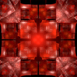 Stained Glass...Red by Nancy Bowen - Illustration Abstract & Patterns ( squares, red, white, fractal, black )