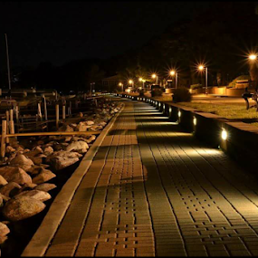NightLight by Bob White - Buildings & Architecture Bridges & Suspended Structures ( lights, night, beach, docks, boat, dock, boardwalk,  )
