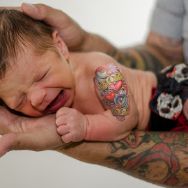 Just Like Daddy! by Michele Dan - People Body Art/Tattoos ( cool, tattoos, rock and roll, baby, tattoo, newborn )