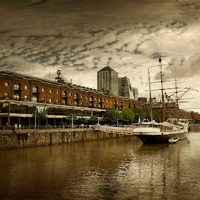 Old Fashioned by Jime Fernandez - City,  Street & Park  Neighborhoods ( argentina, sepia, puerto madero, buenos aires, boat )