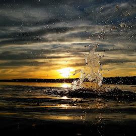 by Marta Raczkowska-Radkiewicz - Instagram & Mobile Android ( nature, sunset, lake, yellow, gray )