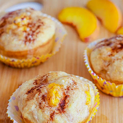 Peach Pie Muffins with Brown Butter Glaze