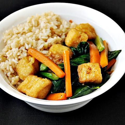 Tofu Puffs with Chinese Kale (Gai-Lan) and Carrot