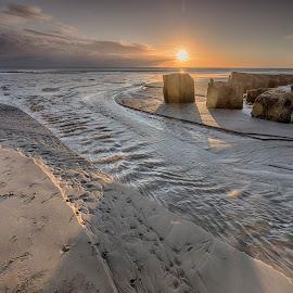 Fraisthorpe Beach by Ian Pinn - Landscapes Beaches ( sand, dawn, ripples, shadow, clouds., tide, rocks, sun )