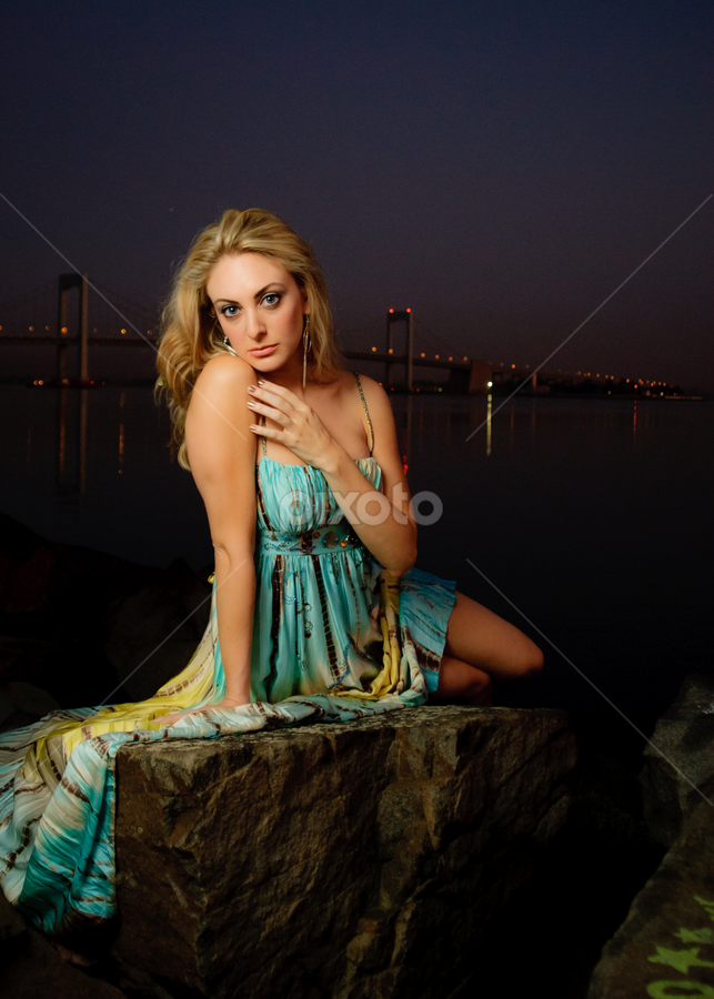 Mermaid on the rocks by Gregg Eisenberg - People Portraits of Women ( flash, model, green, beautiful, blond, nyc, new york, city, pwcflashes, sexy, softbox, dress, woman, night, bridge )