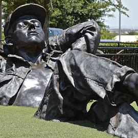 Sunworshipper by Victoria Eversole - Buildings & Architecture Statues & Monuments ( sunbather, bronze, texas, public art, man )