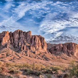 Superstition Mountains by Jason Miller - Landscapes Mountains & Hills ( wilderness, superstition mountains, sunset, arizona, apache junction )