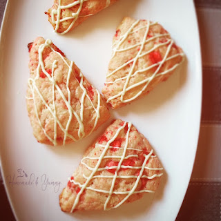 Strawberry Scones....with White Chocolate Drizzle