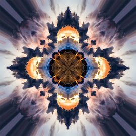 Sunset abstracted by Andy Vic Lindblom - Digital Art Abstract ( abstract, patterns, desert, sunset, circle, square, photoshop )