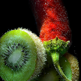 kiwi and always red chili by Angelo Jadulco - Food & Drink Fruits & Vegetables ( fruit, red, green, kiwi, bubbles, chili )
