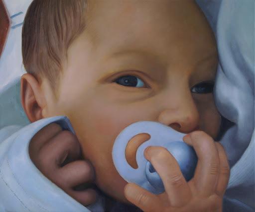 'Hello Baby' - Olieverf op Canvas - 40 x 50 cm