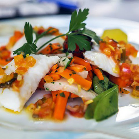 White Fish With Sauce And Vegetables
