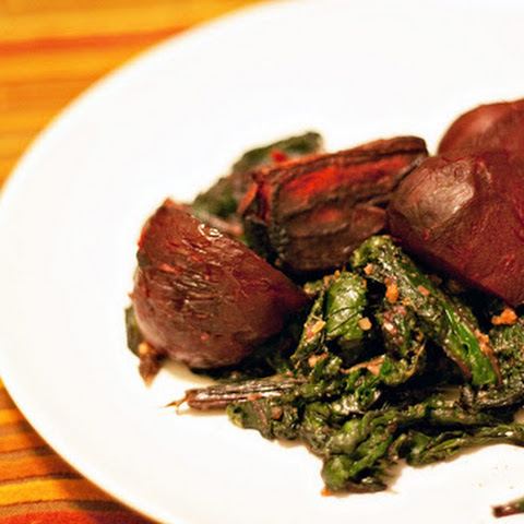 Roasted Beets with Sautéed Beet Greens