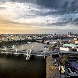 Thames I London by Dipmalya Chatterjee - City,  Street & Park  Skylines ( skyline, london eye, london, wide angle, sky line, cityscape, river thames, river, city )
