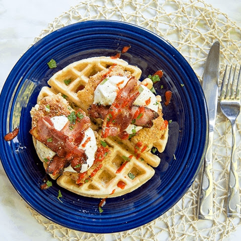 Pork Chops & Waffles with Maple Yogurt Sauce