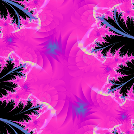 The Pink Jungle by Nancy Bowen - Illustration Abstract & Patterns ( blue, pink, flowers, leaves, black )