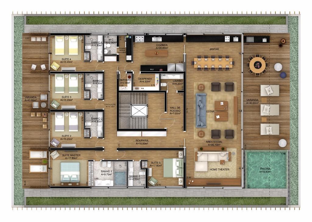 Planta Cobertura - 594 m²