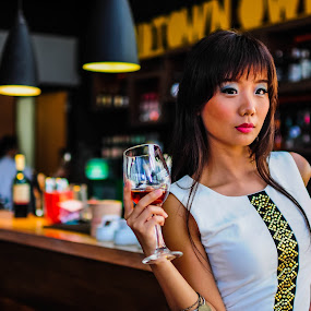 WINE GIRL by Willyam Talim - People Portraits of Women ( #wine, #girl, #bar )