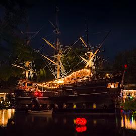 Frigate Sct. Georg III by Ole Steffensen - Transportation Boats ( copenhagen, pumpkin, pirateriet, ship, frigate sct. georg iii, lake, denmark, tivoli gardens, restaurant, halloween )