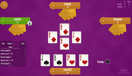 Euchre free card game- screenshot