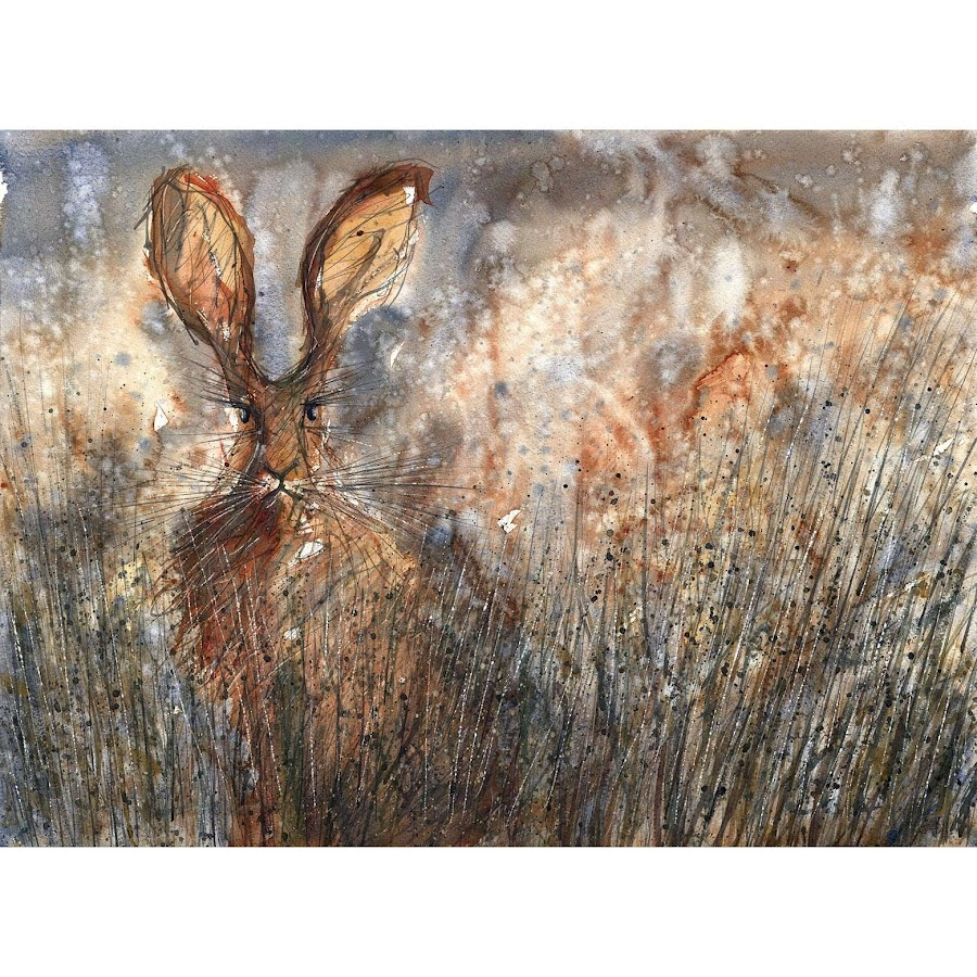 Hare rabbit print art from a watercolour painting