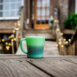 Morning Brew by Donna Vasquez - Food & Drink Alcohol & Drinks ( lights, tree house, coffee, coffee cup, deck, morning, bokeh )