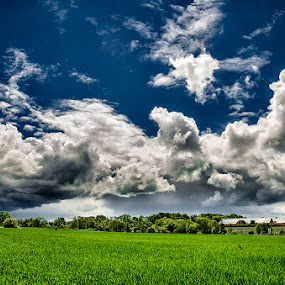 Summerday by Björn Olsson - Landscapes Cloud Formations ( clouds, sweden, blue, green )