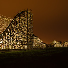 coaster at night by Michael Graham - City,  Street & Park  Amusement Parks ( wooden roller coaster, wisconsin, amusement park, theme park, roller coaster, night, wooden coaster,  )