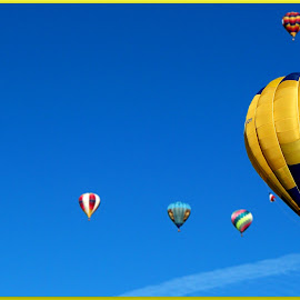 Yellow Balloon by Shawn Thomas - Transportation Other ( hot air balloon, flight, blue, yellow, balloon, float )
