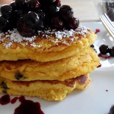 Coconut Flour Pancakes with Blueberry Honey Compote