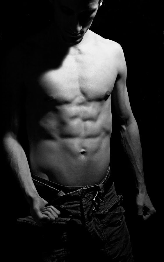 Under the Light by Aleks Markelj - People Body Parts ( torso, muscles, bw, belt, man )