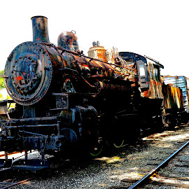 Rusted Glory by Wally VanSlyke - Transportation Trains ( indiana, connersville in, vintage, engine, locomotive, midwest, train, relic, steel, white water valley, antique, steam )